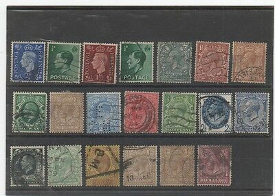 LOT D' ANCIENS TIMBRES ROYAUME- UNI XXe SIECLE