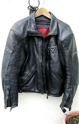 Dainese Black Leather Motorcycle jacket Euro size: 50