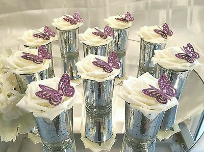 10 x  Small Silver and Pink  glass Wedding Centerpieces/Table Decorations.