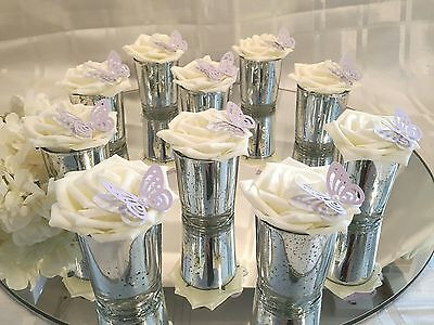 10 x  Small Silver and Lilac  glass Wedding Centerpieces/Table Decorations.