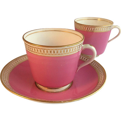 Stunning 19th century Pink Minton Trio, Tea Cup & Coffee Cup, exc cond