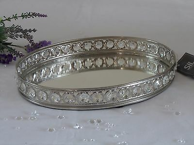 Oval Mirror Glass Gem Decorative Vintage Silver Metal Plate Drinks Display Tray