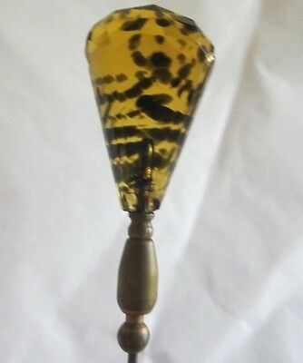 Beautiful Antique Amber Tortoise Glass Hatpin