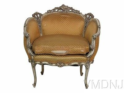 VMD 1397 Louis XVI Style Distressed Cream Painted Settee