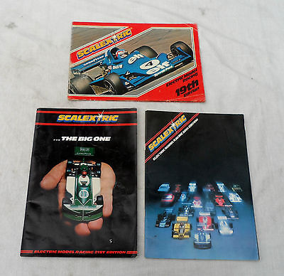 3 Scalextric catalogues and other paperwork in used condition.
