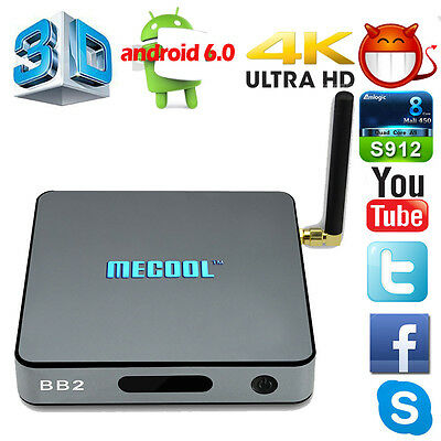 Hot S912 4K Mini 2G+16G MECOOL BB2 1080P Smart TV Box Android6.0 Octa Core