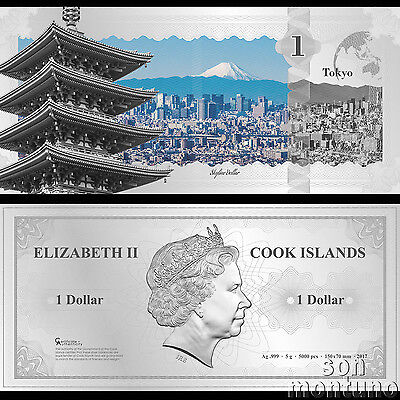 Skyline Note TOKYO JAPAN Flexible 5 Gram Silver Dollar 2017 Cook Islands SENSOJI