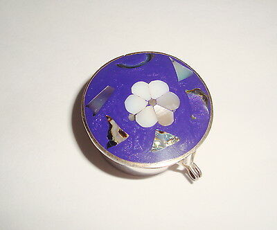 Pill Box nickel silver with blue top with inlaid flowers, L. Paco Mexico