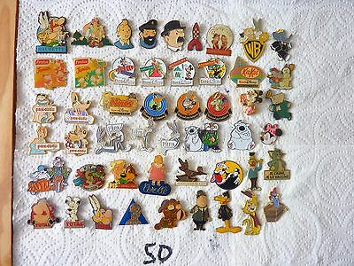 Lot De 50 Pins Bd/ Disney Asterix  Tintin Etc