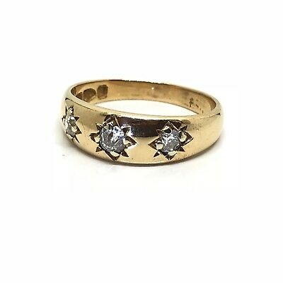 """Antique Vintage Old Cut Diamond 3 Stone 18ct Gold Ring """"Chester 1897"""" Size N"""