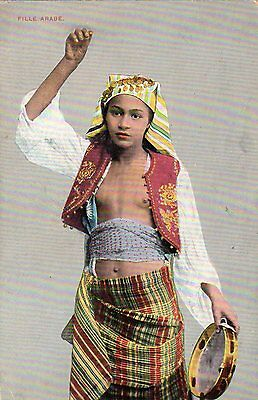 VINTAGE POSTCARD ETHNIC EROTIC YOUNG ARAB GIRL COSTUME TAMBOURINE CAIRO Co.