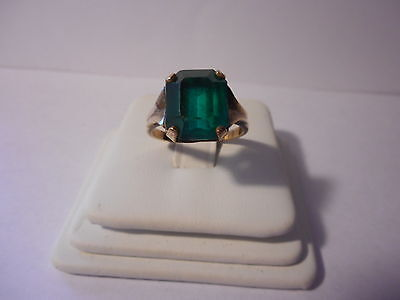 Emerald Cut Green Stone Gold Filled Ring Vintage