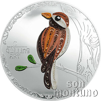QUILLING ART BIRD - Half Oz 50mm Silver Proof Coin + Box/COA - 2017 Cook Islands
