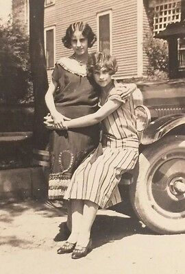 Vintage Photograph Snapshot Pretty Girl Affectionate Pose Gay Interest 1930s