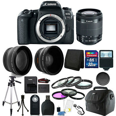 Canon EOS 77D 24.2MP DSLR Camera with + 18-55mm + 32GB Accessory Bundle