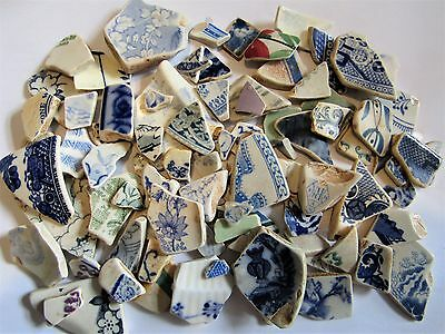 Bulk Twice Tumbled Sea Pottery 400g in lovely patterns for Art/Crafts/Jewellery