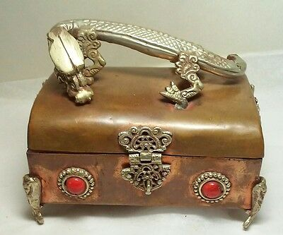 Vintage  Copper & Brass Dragon Box Nepal
