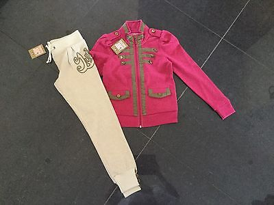 NWT Juicy Couture Girls Pink/Gold Cotton Blend Military Style Tracksuit Age 8