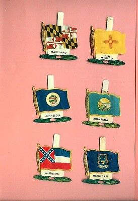 6 Nabisco Tin State Flags 1959 Cereal Premiums Md,mi,mn,mississippi,montana,nm