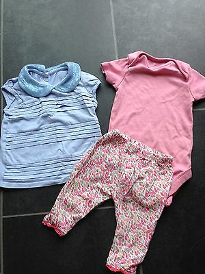 Girls Baby Blue Top With  Peter Pan Collar, Mothercare 12-18 Months, Next Vest