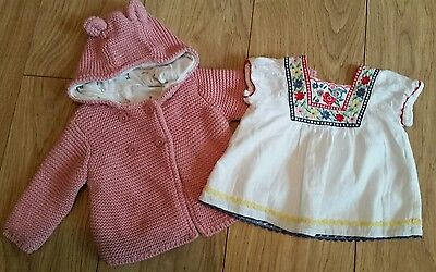 Baby Girl Monsoon Peasant Top & M&S Knitted Teddy Cardigan age 0-3 months