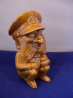 Vintage Watcombe Torquay Ware Sea Captain Character Jug Honey Glaze