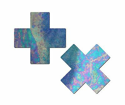 Plus X: Liquid Acid Blue Cross Nipple Pasties by Pastease o/s