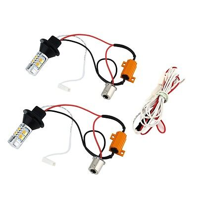 2pcs 1156 Dual-Color Switchback LED Turn Signal Light With DRL Function Kit RS