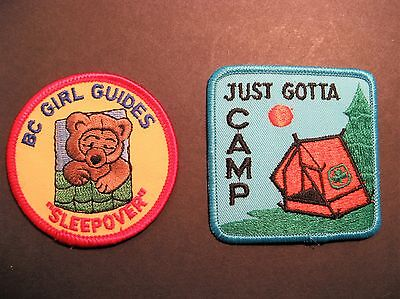 Girl Guides Canada 2 Patches Just Gotta Camp B.c. Sleepover Brownies Scouts