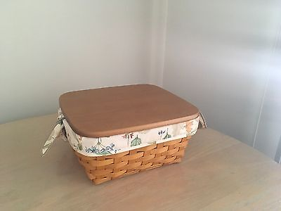 Longaberger Small Storage Solutions Basket Combo W Wooden Lid & Dividers