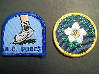 Girl Guides Canada 2 British Columbia Dogwood Boot Patches Brownies Scouts