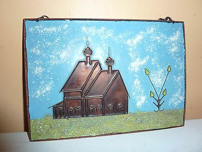 1982 Russian 20 By 14.2Cm Copper Plaque With Enamel Cloisonnne Church/tree Image