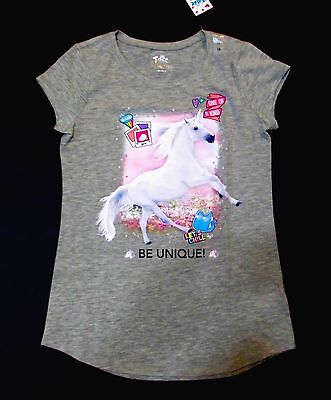 Justice Girls Size 10 Gray Pink Unicorn Floral Short Sleeve Top New With Tags