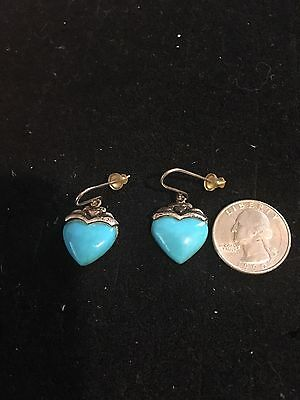 Vintage Sterling Silver and Turquoise Heart shaped Earrings