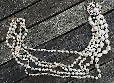 5 Strand Vintage Simulated Pearl Necklace with Stunning Round Decorative Clasp