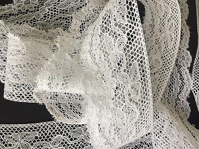 Antique French Lace Trim White Cotton By The Yard