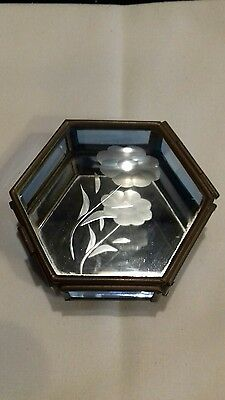 Vintage Trinket jewellery box - 6 sided blue leaded glass with etched flower.