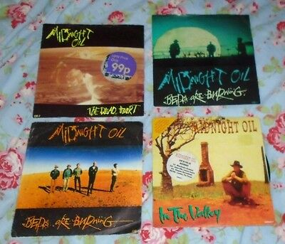 "4 MIDNIGHT OIL UK 7"" Singles BEDS ARE BURNING THE DEAD HEART & IN THE VALLEY"