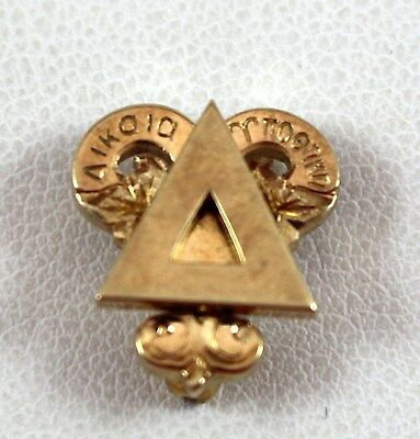 Vintage Purdue Delta Upsilon Fraternity Pin 1949 10K Yellow Gold