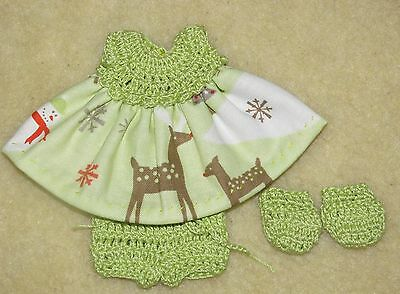 """Cotton Print Outfit fits 5 1/2 to 6"""" Polymer Clay Silicone Babies #35"""