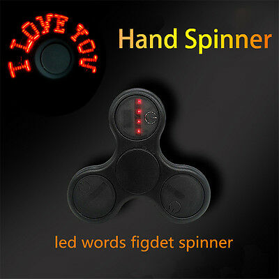 LED I LOVE YOU Message Letter Word Hand Fidget Spinner EDC Gyro Toy Stress Focus