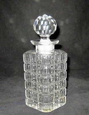 "Czechoslovakia Clear Cut Glass Square Whiskey Decanter, 9"" w/ Stopper"