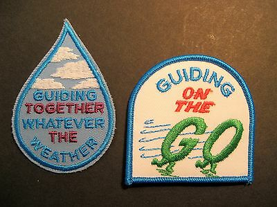 """Girl Guides Canada 2 """"guiding On The Go"""" """"guiding Together Whatever"""" Patches"""