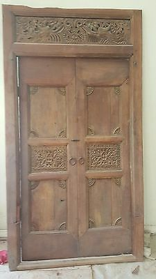 ANTIQUE Indian Carved Teak Doors and Frame---Can be shipped or locally delivered