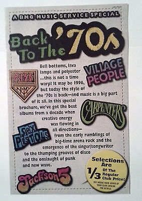 BMG Music Catalog Collector's Issue-Back to The 70's-Obscure Rock Music Guide