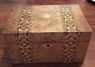 Beautiful Tunbridge Ware Antique Sewing Box Inlaid With Different Woods