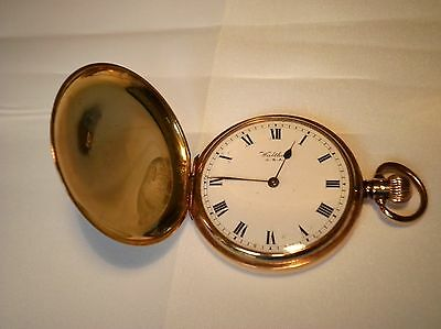 SOLID 9 ct GOLD FULL HUNTER POCKET WATCH WALTHAM FWO EXCELLENT TIME KEEPING