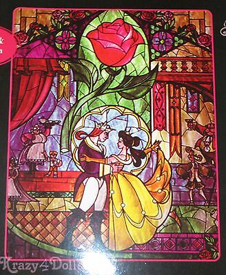 """Disney Beauty And The Beast Stained Glass Super Plush Throw/ Blanket 48""""x 60"""""""