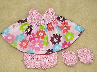 """Cotton Print Outfit fits 5 1/2 to 6"""" Polymer Clay Silicone Babies #45"""