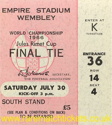 reproduction WORLD CUP FINAL FIFA JULES RIMET TICKET inc BRAZIL ITALY GERMANY
